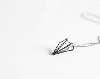 Paper airplane    . Airplane jewelry. Paper airplane necklace. Origami airplane necklace. Geometric jewelry. Origami jewelry. Pilot necklace