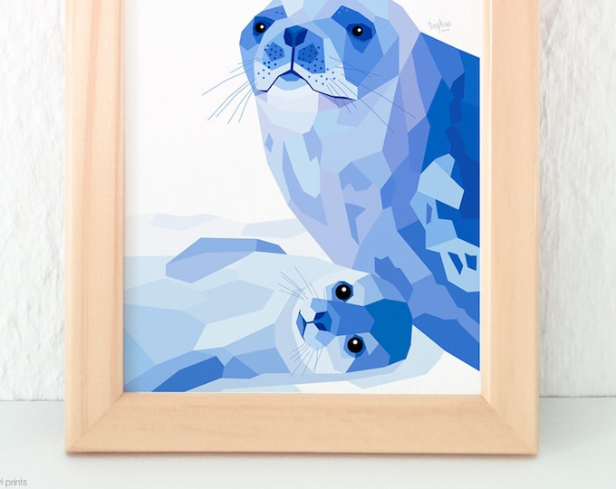 Seal print, Weddell seal wall art, Antarctic seal, Baby seal print, Mother and baby seal, Baby nursery print, Geometric, Animal children