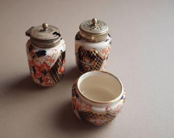 Imari condiment set EPNS silverplate salt and pepper mustard pot set handpainted blue red gold elegant table