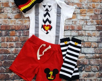 Mickey Mouse Inspired Birthday Tie and Suspender bodysuit with Shorts Baby Boy First Birthday Clothing Birthday Party Little Man Tie Outfit