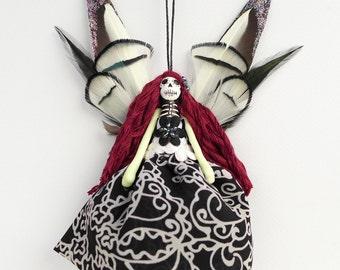 Dead Fairy decoration, Day of the Dead Fairy, handmade peg doll, OOAK Christmas gift