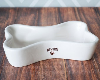 Personalized Dog Bowl -  Bone Shaped Bowl - With Name and Paw Print - Ceramic