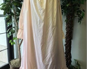RENAISSANCE COTTON CHEMISE Plus size soft peach cotton chemise apricot peasant blouse with elastic neck and sleeves