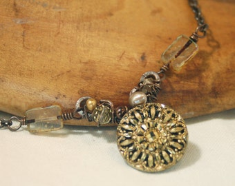 Antique Gold Glass Button Necklace