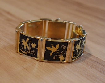 1950s Toledo damascene bracelet, fifties niello linked cuff bracelet with birds and flowers, gold and black panel bracelet