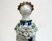 Princess Sculpture  ,Rose Queen  , Bunch Of Roses ,Woman Figurine ,Fine Art Ceramics