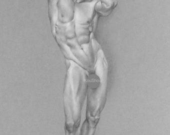 Print, Fine art print, Fine art drawing MALE NUDE in pencil and charcoal, figure drawing, art, gay interest