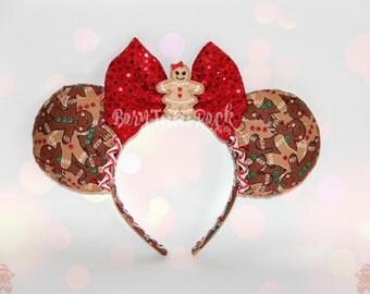 Gingerbread Girl Mouse Ears // Gingerbread Mouse Ears // Christmas Mouse Ears // Holiday Mouse Ears // by Born Tutu Rock
