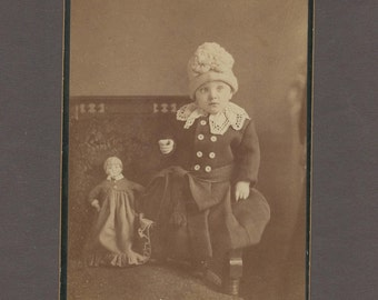 Cabinet Card of a Nicely Dressed Child with a Doll ~ Wonderful Hat