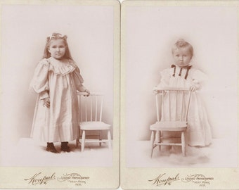 Beautiful Pair of Cabinet Cards ~ Siblings in White