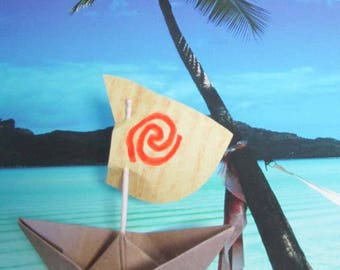 Set of 10 Moana Party Birthday Boat Water Sign Spiral Paper Boat Sailboat 10 Boats