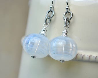 White Earrings, Blown Glass Earrings, Sterling Silver Bead Earrings, White Drop Earrings, Lampwork Jewelry, Large Earrings, Women Gift Ideas