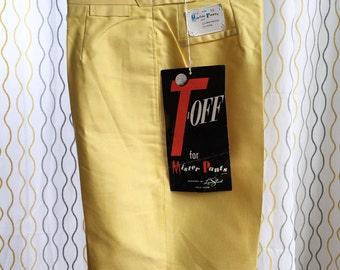 Vintage 60s yellow golf shorts/ T Off/ NOS Designed by Lynn Stuart for Mister Pants/ designer shorts