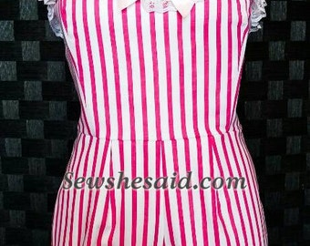 Candy Striper Custom Size Playsuit Made to Order Pillbox hat