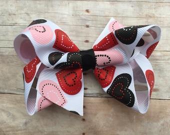 4 inch heart hair bow, Valentine's Day hair bow, Valentines hair bow