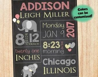 Elephant Birth Announcement Sign. new baby girl elephant nursery theme custom art print. DIGITAL birth stats chalkboard print. new baby gift