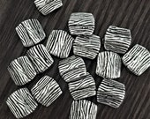 Square Burnished Pewter Beads with Etched Lines and Texture - Has Dimension on Each Side - Set of 24