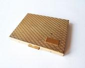 Vintage Cigarette Case, Gold Tone Cigarette Compact, Hinged Case, Spring Loaded Cigarette Holder, Business Card Case, 1960s Monogram Case