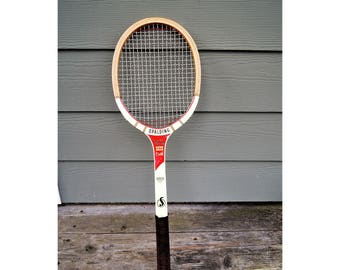 Vintage Wood Tennis Racket, Mid Century Tennis, Spalding Pancho Gonzales Pro Champ, Tennis Racket Decor, Sports Memorabilia, Racket Sports