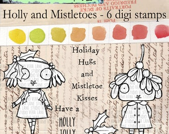 Holly and Mistletoes - whimsical 6 digi stamp bundle