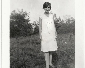 Old Photo Teen Girl wearing White Dress Photographers Shadow 1920s Photograph Snapshot vintage