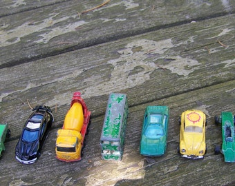 Vintage Lot of 9 Small Cars, Trucks, and a Bus.Hotwheels,Matchbox,Tootsie Toy,Yatming,Zylmex,Diecast Cars.Vintage Metal Cars.Car Collection.