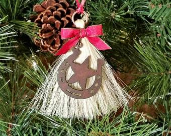 Rustic Primitive Rusty Metal Cutout Horseshoe Star on Horsehair Tassel Christmas Holiday Ornament