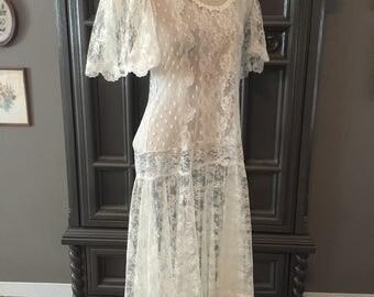 80s Drop Waist Edwardian Style Sheer Lace Tea Dress
