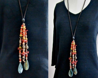 Large Bead Necklace - Long Bead Necklace - Glass - Wood - Ceramic - Metal - Leather Thong
