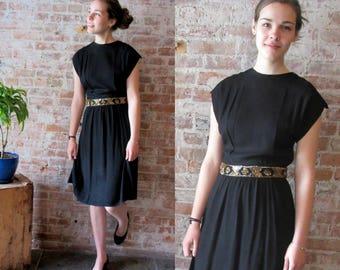 Vintage 1940s Rayon Crepe Dress - Black - Sequin Detail at Waist - Tie Back - Cap Sleeves Belt