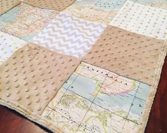 World Map Atlas Blanket