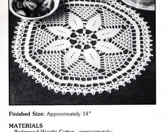 "Vintage Crochet Pattern ""Nina"" - from Leisure Arts 'Elegant Crocheted Doilies' Leaflet No 972"