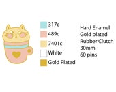PREORDER Cup Cat enamel pin, pastel, 30mm, pink, blue, gold, cute, kawaii, heart, tea coffee lover