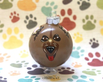"""German Shepherd Christmas Ornament READY TO SHIP 2.25"""" Glass Bauble Dog Hand Painted Pet Portrait Pet Gift Pet Loss Gift Dog Mom"""