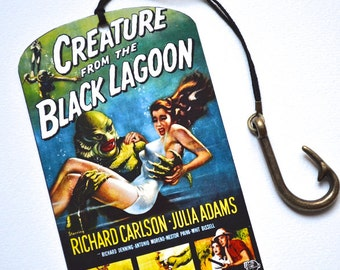 Mini Bookmark with Bronze Pendant - Creature from the Black Lagoon - Vintage Movie Poster - Handmade