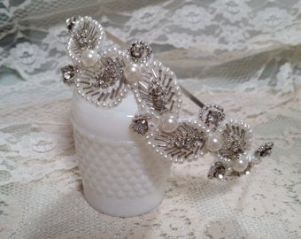 BRIDAL BEADED Headband Leaves Pearls Crystals White Silver Bride Bridesmaids Hair Accessories Cottage Shabby Chic Nature Inspired Wedding