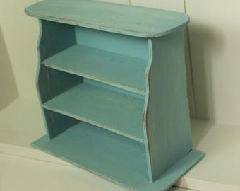 Handmade turquoise Bakery patisserie country shabby chic wood shelf empty display-miniature dollhouse in 12th scale-furniture