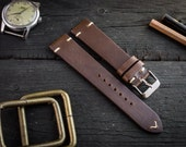 Vintage style dark brown leather strap for watches (20mm), watch band, watch strap, leather band, wrist band, two stitch watch strap