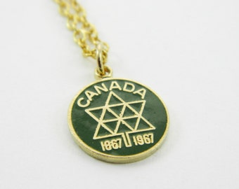 Canada 150 Necklace in Green - Canadian Centennial Necklace