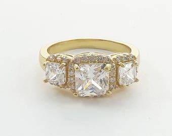 Retro Tri Stone Halo Ring in Yellow Gold