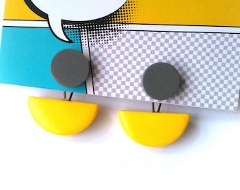 Ear Jackets Yellow Grey Modern Minimal Geometric Front and Back Earrings  FREE UK SHIPPING