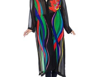 Boho Black Silk With Large Floral Print Jacket Size: 12