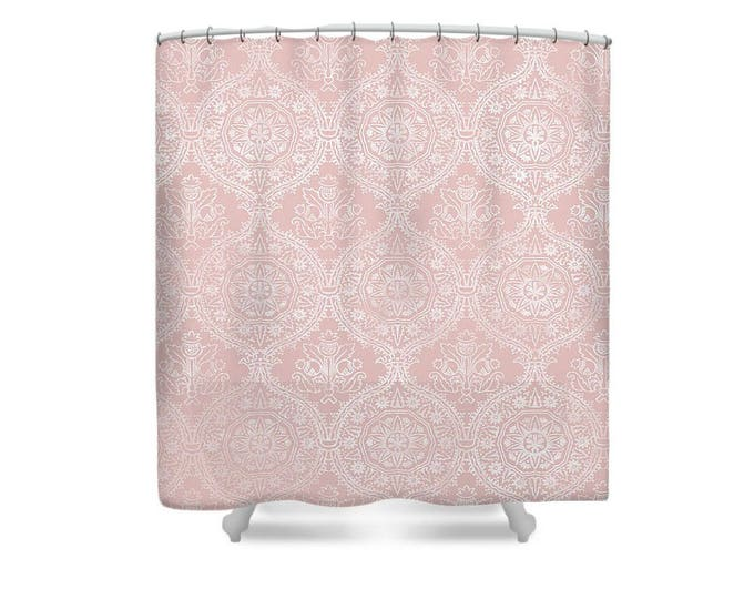 blush pink shower curtain lace and pink print pink bathroom girl bathroom decor