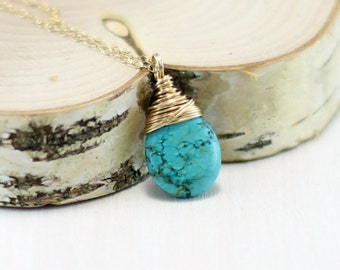 Turquoise Necklace, 14k Gold Filled Arizona Turquoise Pendant Yellow Gold Wire Wrapped December Birthstone Genuine Turquoise Jewelry