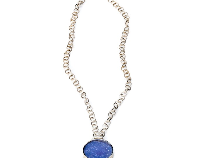 Necklace, 925/000 Silver, chalcedony with crystals, blue.