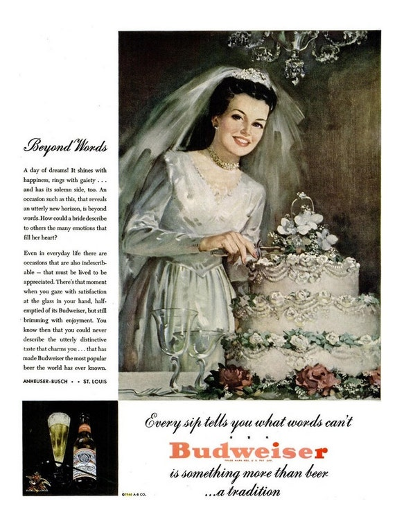 1946 Budweiser Beer Bride & Jell-O Ads Bridal Suite Shower Decoration Wedding Cake Bachelorette Bachelor Party Decor Alcohol Reception Art