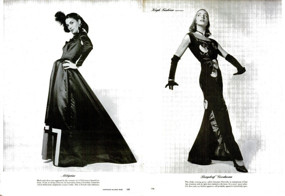 1945 High Fashion Photography Black & White Print Set Life Magazine WWII Wartime Haute Couture Femme Fatale Glamour Designer Dressmaker Art