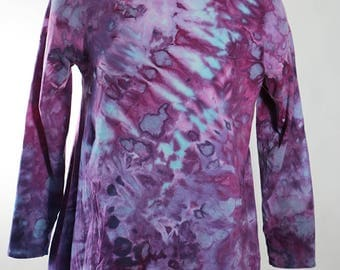 Asymmetric Tunic, Long Sleeve, Cotton, Ice Dyed Tie Dyed, Crumple, Purple Turquoise,  MADE TO ORDER