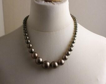 Short Length 1980s Bronze Metallic Graduated Beaded Necklace Kitsch