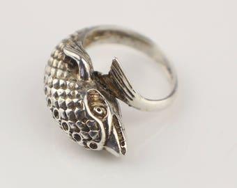 Chunky Silver Metal Koi Fish Wrap Around Ladies Ring    Size  US 6   UK L 1/2